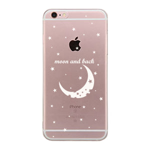 The Moon And Back Couple Clear Phone Case - Right