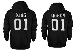 King 01 and Queen 01 Back Print Couple Matching Hoodies Cute Outfit - 365INLOVE