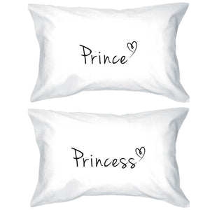 Prince and Princess Pillow Covers 300T Count Matching Couple Pillowcases - 365INLOVE