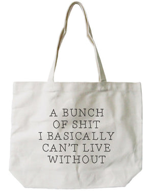 Women's Canvas Bag -Funny Can't Live Without Natural Canvas Tote Bag - 365INLOVE