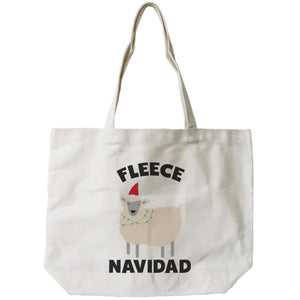 Feliz Navidad Christmas Gift Canvas Bag Custom Funny X-mas Fleece Tote Bag - 365INLOVE