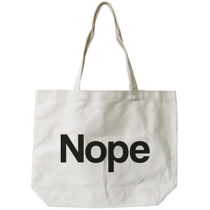 Nope Typography Canvas Bag Natural 100% Canvas Cute Tote For Girls - 365INLOVE