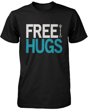 Men's Funny Graphic Tees - Free Hugs Black Cotton T-shirt - 365INLOVE