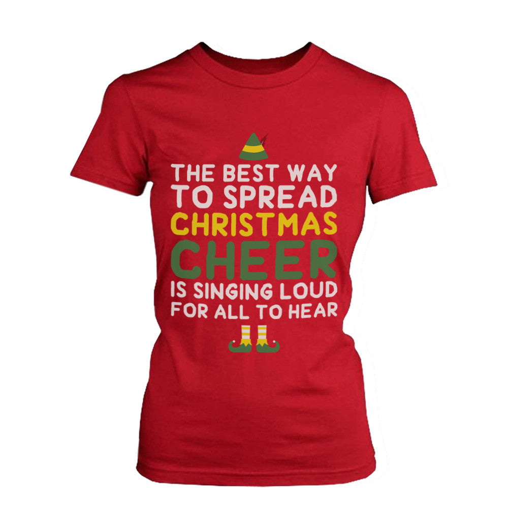 66f08848 Women's X-mas Graphic Tee - Best Way to Spread Christmas Cheer Red Cotton  Tshirt