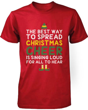 Men's Graphic Tees - Best Way to Spread Christmas Cheer Red Cotton T-shirt - 365INLOVE