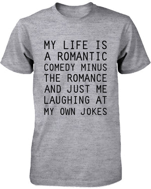 Funny Graphic Tees - Romantic Comedy Men's Grey Cotton T-shirt - 365INLOVE