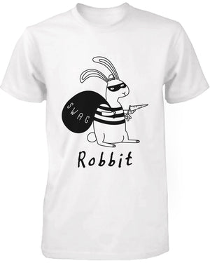 Funny Graphic Tees - Robbit with Swag Bag Women's White Cotton T-shirt - 365INLOVE