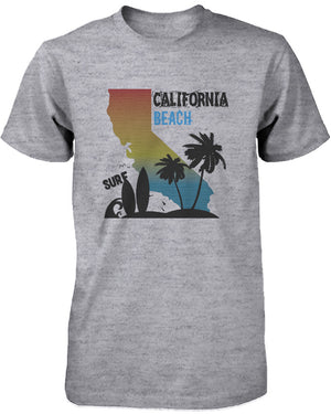CA Map Gradation California Beach Surf Graphic T-shirt for Men Tee for Surfer - 365INLOVE
