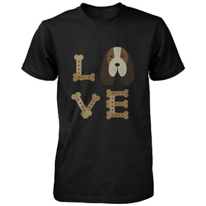Basset Hound LOVE Men's T-shirt Cute Tee for Dog Owner Puppy Printed Shirt - 365INLOVE