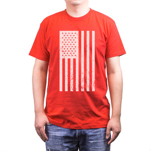 Distressed American Flag Independence Day Men's Red Shirt