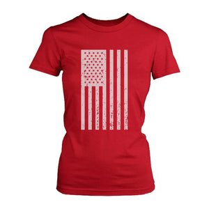 Distressed American Flag Independence Day Women's Red Shirt