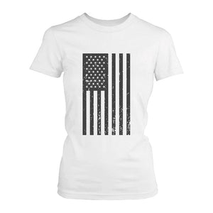 Women's Vintage American Flag Fourth of July T-shirt