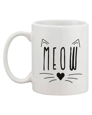 Meow Cute Ceramic Mug Kitty Face Coffee Cup Perfect Gift Idea for Cat Lover - 365INLOVE