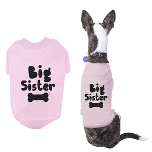 Big Sister Pet T-shirts Cute Dog Apparel Puppy Cloth Funny Baby Pink Dog Tees - 365INLOVE