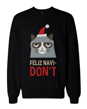 Funny Grumpy Cat Holiday Graphic Sweatshirts - Unisex Black Pullover Sweater - 365INLOVE