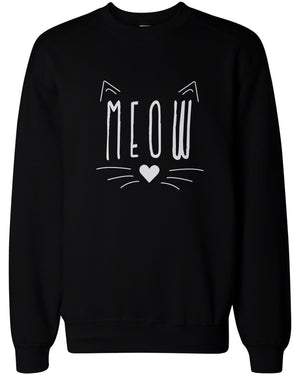 Meow Cute Kitty face Women's Sweatshirt Crewneck Pullover Fleece Sweaters Cat Lovers - 365INLOVE