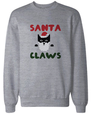 Santa Claws Funny Holiday Sweatshirts Cute Christmas Pullover Fleece Sweaters in Grey - 365INLOVE