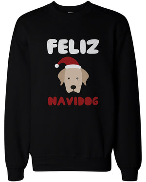 Feliz Navidog Christmas Sweatshirts Funny Retriever Holiday Pullover Fleece Sweaters - 365INLOVE