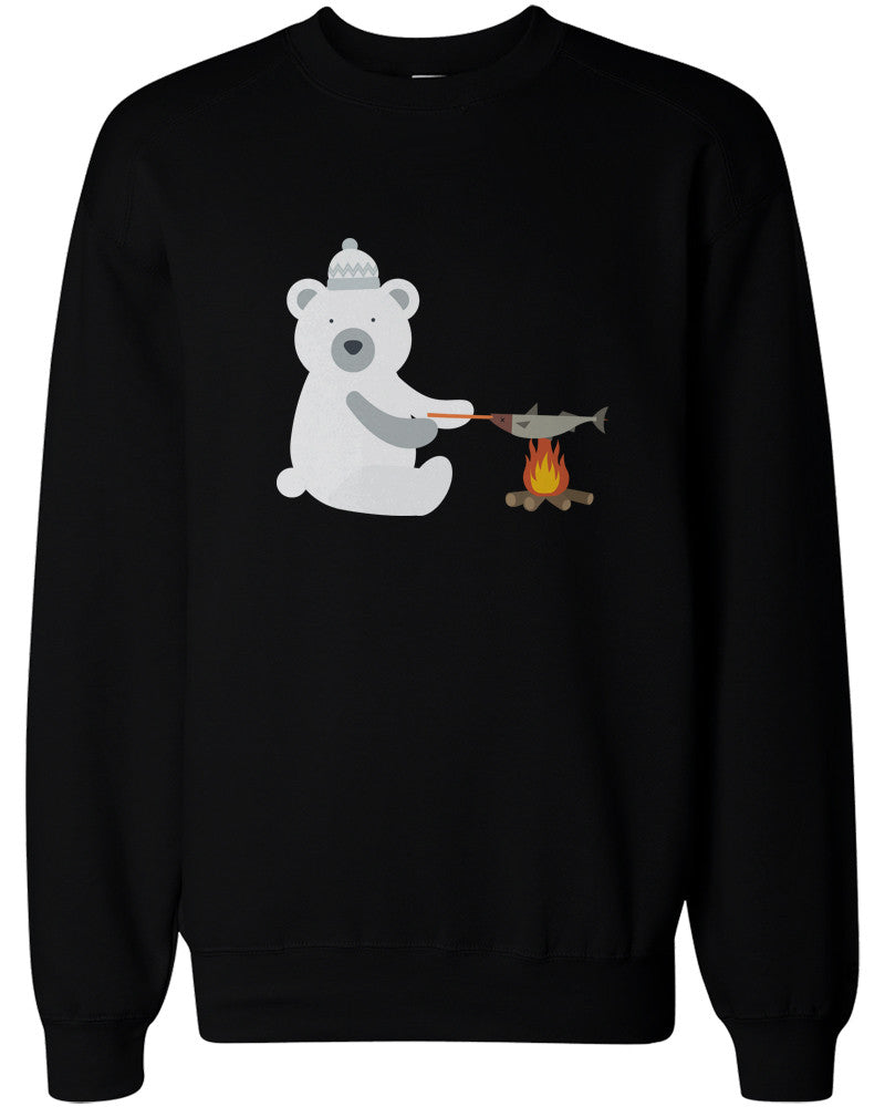 Christmas Sweaters Cute.Cute Polar Bear Grilling Fish Sweatshirts Christmas Sweaters Unisex Pullover Fleece
