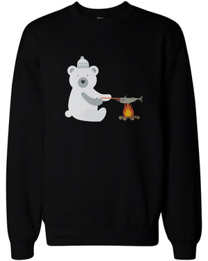 Cute Polar Bear Grilling Fish Sweatshirts Christmas Sweaters Unisex Pullover Fleece - 365INLOVE