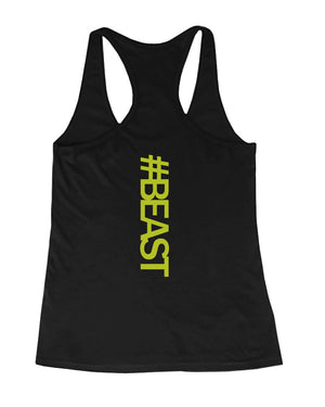 #Beast Neon Back Print Women's Work Out Tank Top Gym Sleeveless Beast Tanks - 365INLOVE