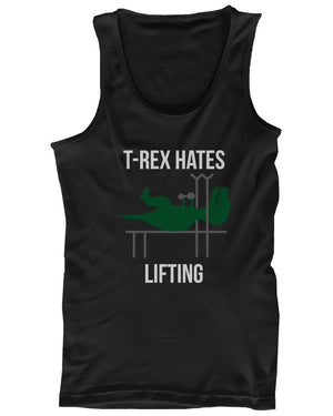 T-Rex Hates Lifting Funny Work Out Tank Top Cute Sleeveless Gym Clothes - 365INLOVE