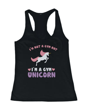 Not a Gym Rat I'm a Gym Unicorn Funny Women's Workout Tanktop Fitness Tanks - 365INLOVE