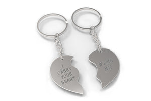 I Carry Your Heart With Me Half Hearts Couple Keychains Matching Key Ring - 365INLOVE