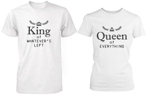 King and Queen of Everything Matching Couple White T-shirts (Set) - 365INLOVE