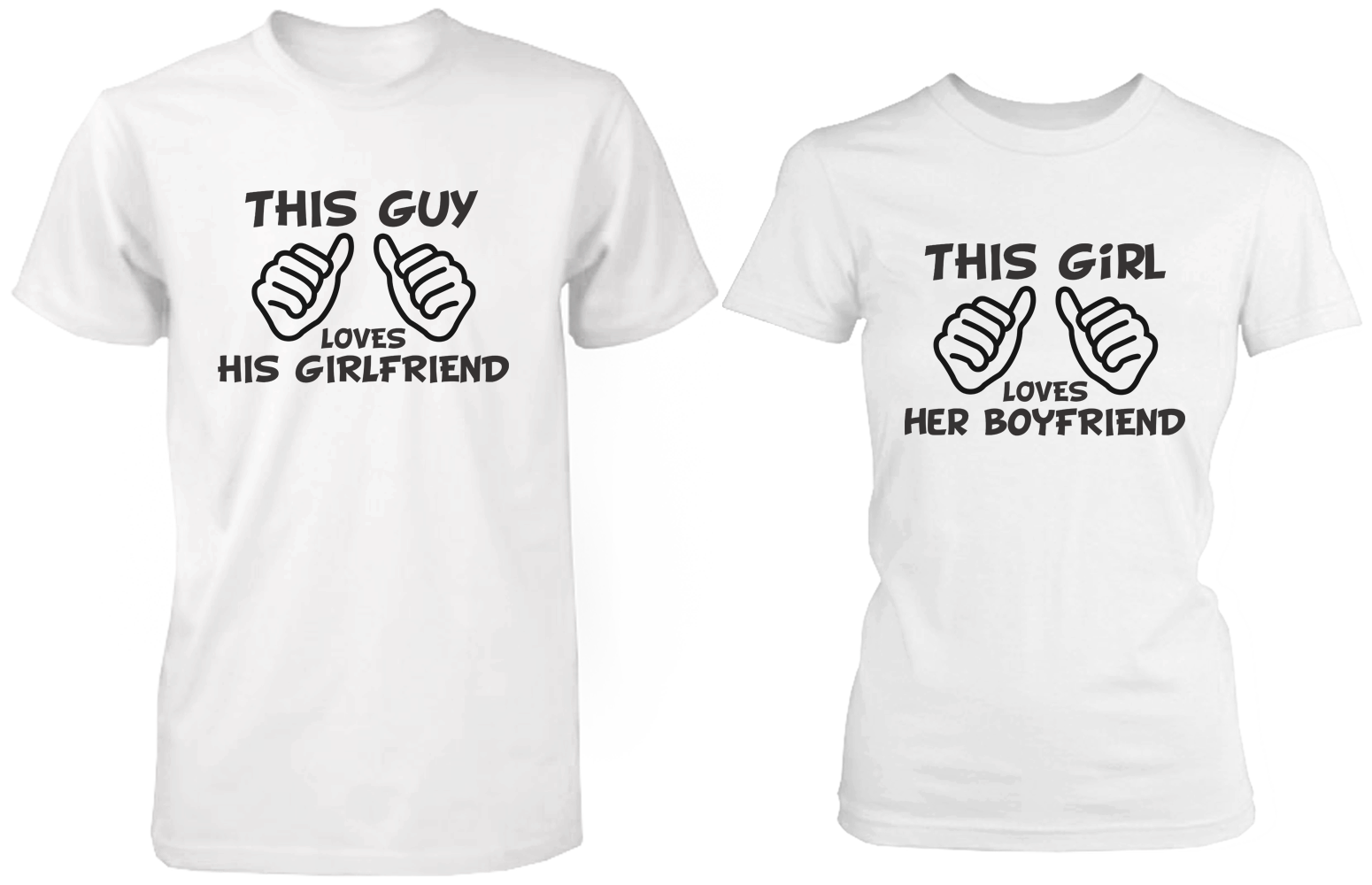 914d61d2f5 This Guy Loves His Girlfriend & This Girl Loves Her Boyfriend White  Matching Couple Shirts