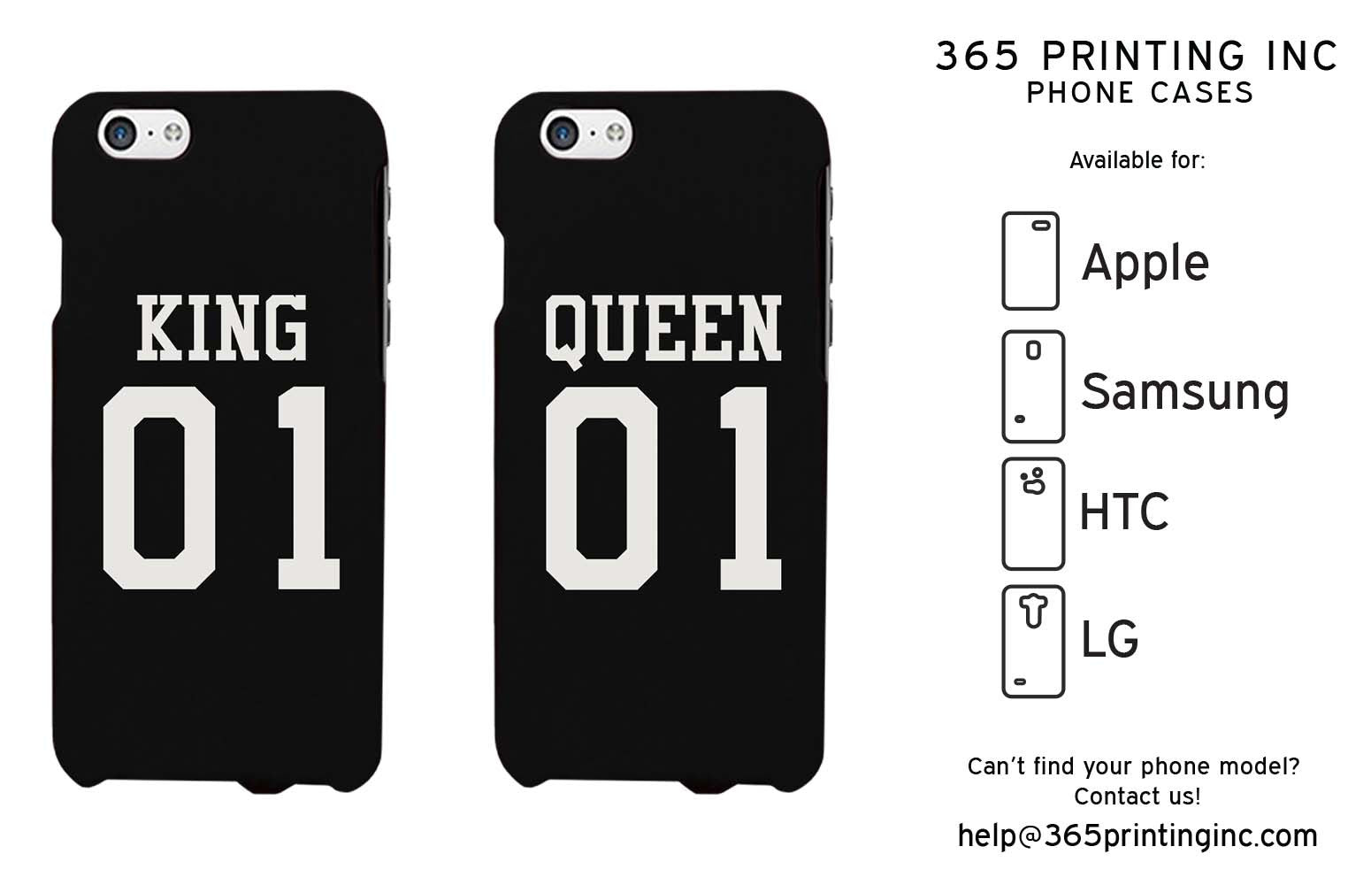 44ef8b0b20 King 01 Queen 01 Couple Phone Cases Set Cute Matching Phone Cover Galaxy  Iphone - 365INLOVE