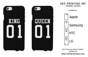 King 01 Queen 01 Couple Phone Cases Set Cute Matching Phone Cover Galaxy Iphone - 365INLOVE