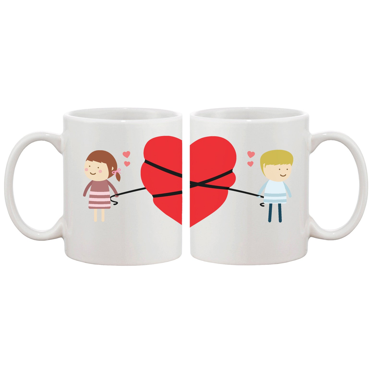 Delightful Love Connecting Couple Mugs Cute Graphic Design Coffee ...