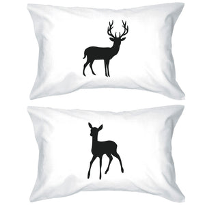 Buck and Doe Couple Pillowcases Deer Pillow Covers Gifts for Loved One - 365INLOVE