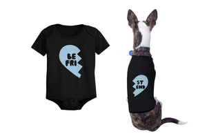 Best Friend Half Heart Matching Baby Onesies and Dog Shirts Pet and Infant Apparel - 365INLOVE