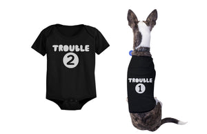Trouble 1 Pet Shirts and Trouble 2 Baby Bodysuits Matching Dog and Infant Apparel - 365INLOVE