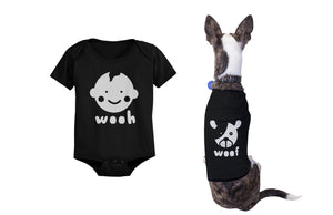 Wooh Baby Onesies and Woof Dog Tshirts Cute Matching Pet and Infant Apparel - 365INLOVE