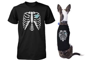 Skeleton Matching Pet and Owner T-shirts for Halloween Dog and Human Apparel - 365INLOVE