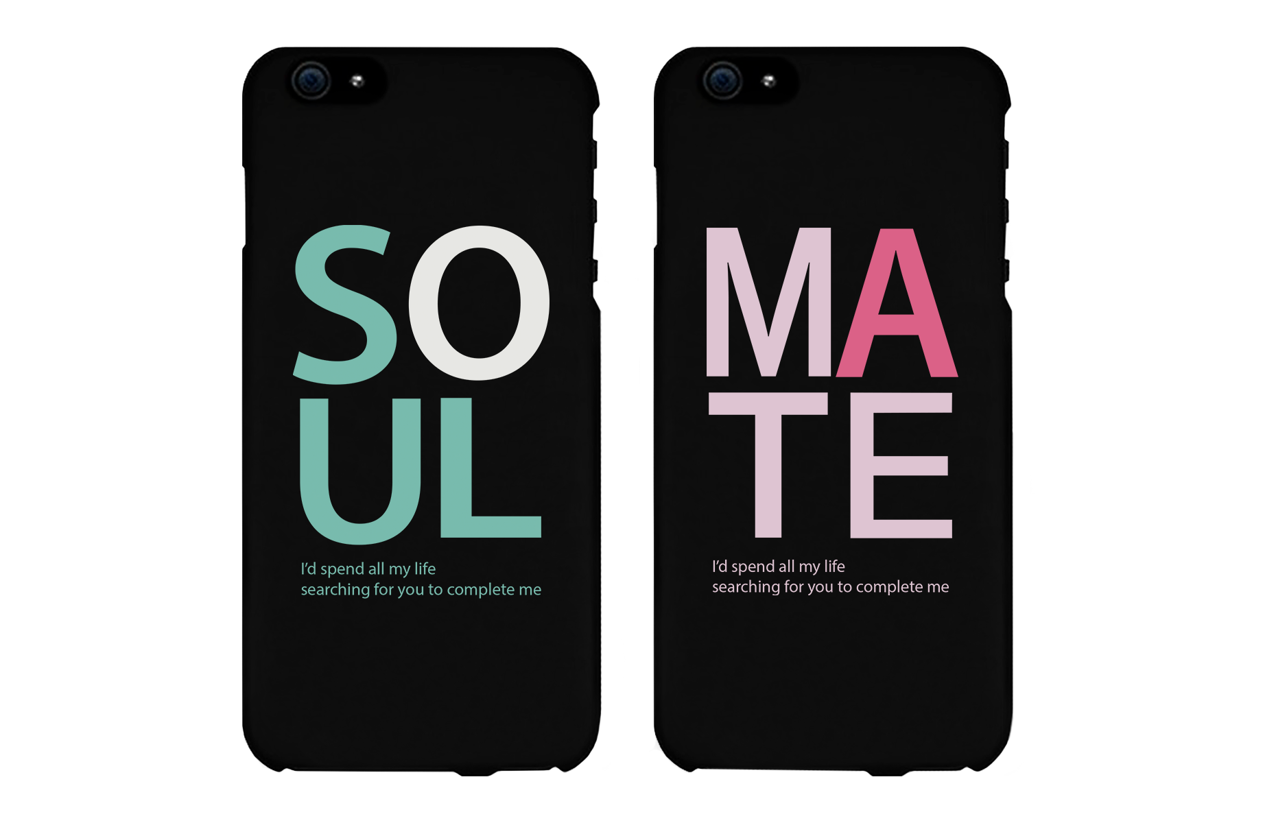 Soulmate Matching Couple Black Phonecases Set