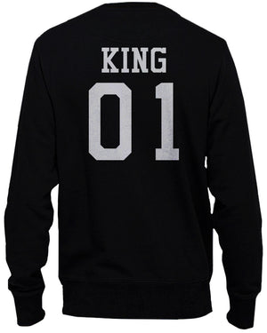 King 01 and Queen 01 Back Print Couple Sweatshirts Cute Pullover Fleece - 365INLOVE