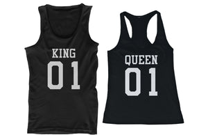 King 01 Queen 01 Couple Tank Tops Matching Tanks Summer Vacation Tee - 365INLOVE