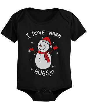 I Love Warm Hugs Snowman Cute Christmas Black Baby Bodysuit Gifts - 365INLOVE