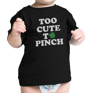 Too Cute To Pinch White Funny Design Baby Tee For St Patricks Day - 365INLOVE