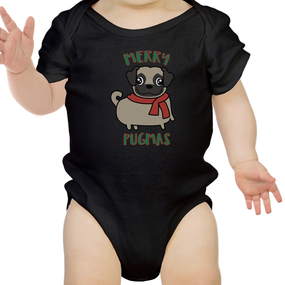0a4137346 Merry Pugmas Pug Baby Black Bodysuit - 365 IN LOVE - Matching Gifts ...