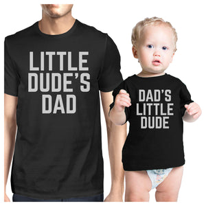 Little Dude Black Matching Graphic T-Shirts For Dad and Baby Boy - 365INLOVE