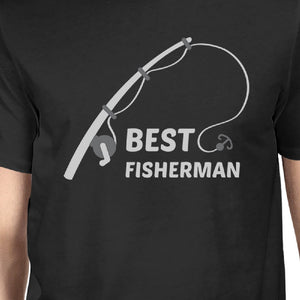 Best Fisherman Cutest Catch Dad and Baby Matching Black Shirts