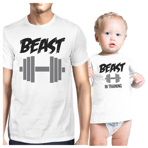 Beast In Training Dad and Baby Matching Gift T-Shirts Fathers Day