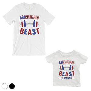 American Beast Training Dad and Baby Matching Gift T-Shirts Unique