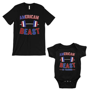 American Beast Training Dad and Baby Matching Outfits Fathers Gift