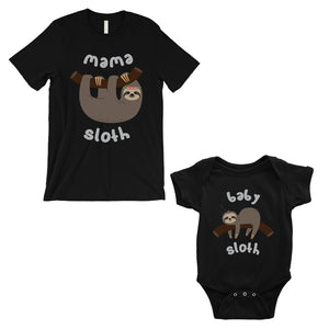 Mama Baby Sloth Mom and Baby Matching Shirts Black For Mother's Day
